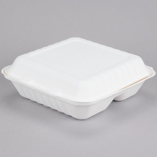 EcoChoice 9 inch x 9 inch x 3 inch Biodegradable, Compostable Sugarcane / Bagasse 3 Compartment Takeout Container - 200/Case