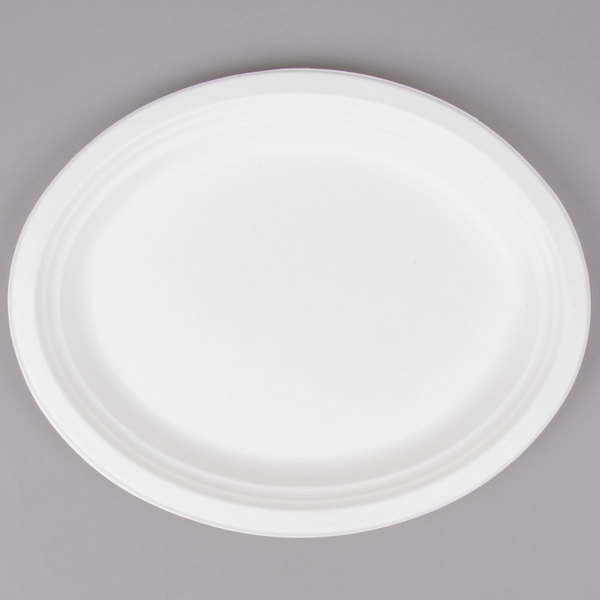 EcoChoice Biodegradable, Compostable Sugarcane / Bagasse 10 inch x 12 1/2 inch Oval Platter - 125/Pack