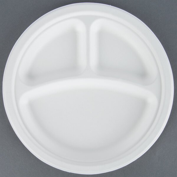 EcoChoice Biodegradable, Compostable Sugarcane / Bagasse 9 inch Plate 3 Compartment - 125 / Pack