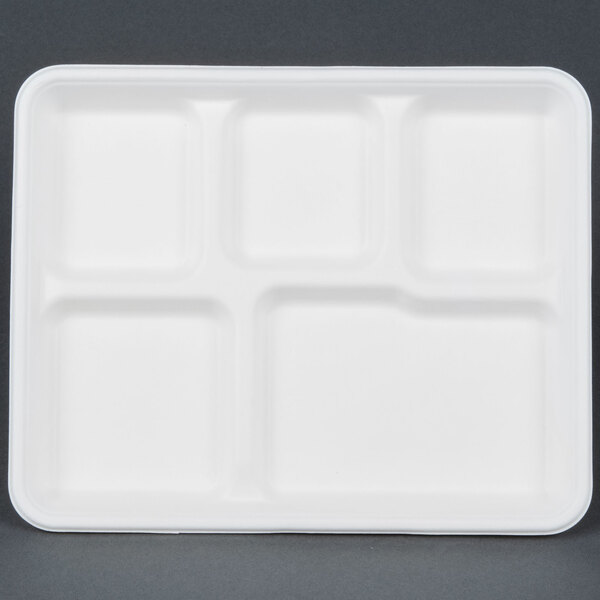 EcoChoice 8 inch x 10 inch Biodegradable, Compostable Sugarcane / Bagasse 5 Compartment Tray - 100 / Pack
