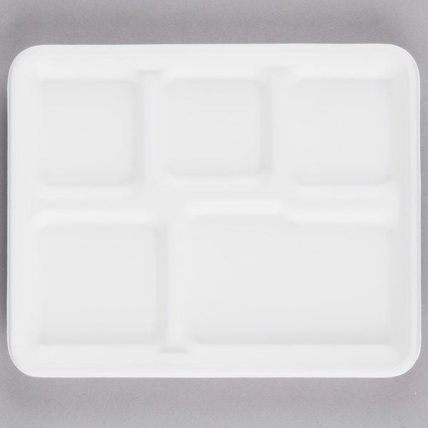 EcoChoice 8 inch x 10 inch Biodegradable, Compostable Sugarcane / Bagasse 5 Compartment Tray - 100/Pack