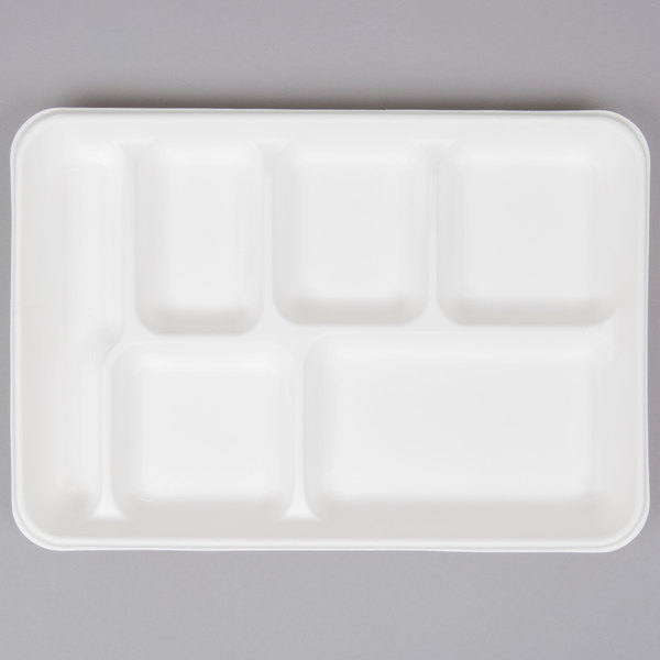EcoChoice 8 inch x 10 inch Biodegradable, Compostable Sugarcane / Bagasse 6 Compartment Tray - 100/Pack