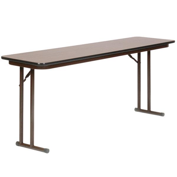 Correll ST1860PX01 18 inch x 60 inch Walnut 3/4 inch High-Pressure Folding Seminar Table