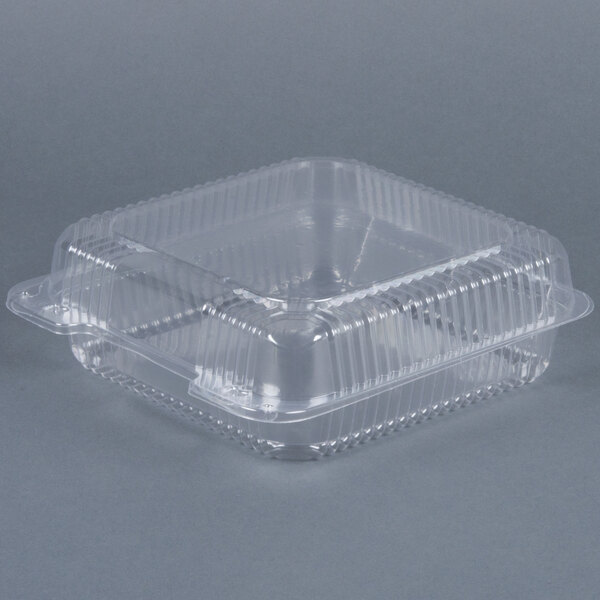 Dart Solo C55UT1 9 inch x 8 5/8 inch x 3 inch Clear Hinged StayLock Plastic Container - 200 / Case