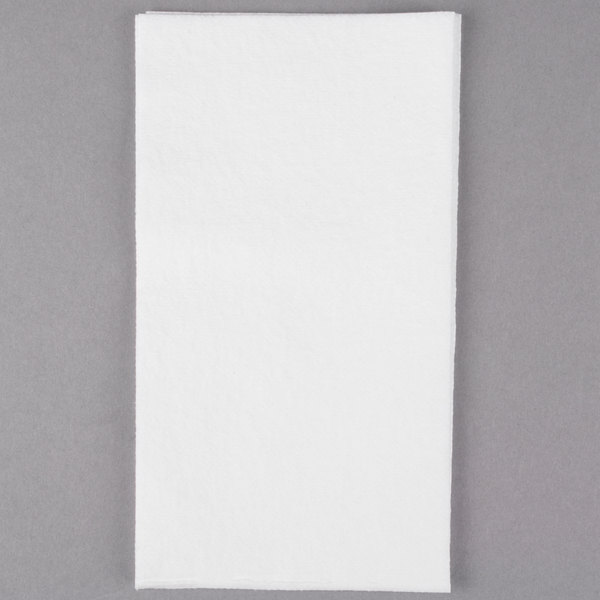 Lavex Janitorial Linen-Feel 12 inch x 16 inch White 1/6 Fold Guest Towel  - 500/Case