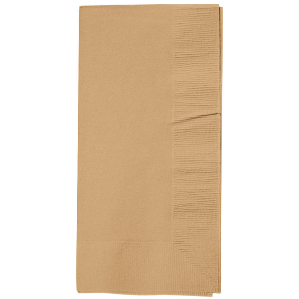 Creative Converting 673276B Glittering Gold 2-Ply 1/8 Fold Paper Dinner Napkins - 600/Case