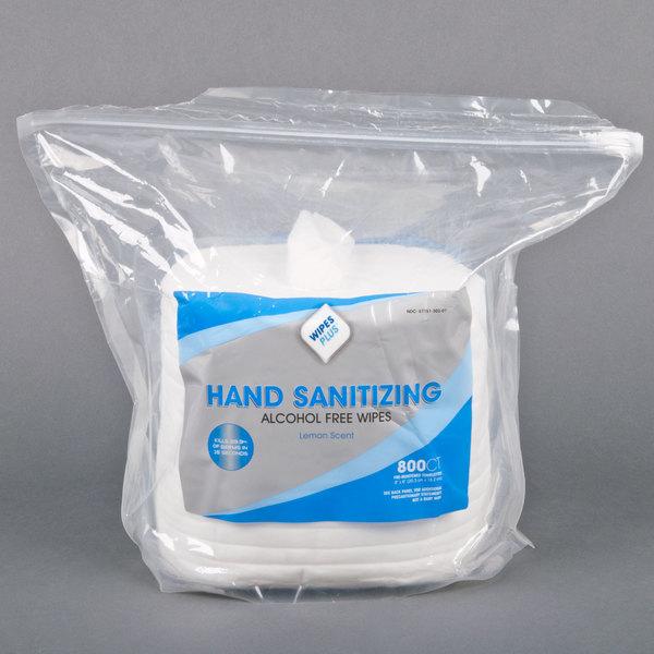 WipesPlus Lemon Scent Alcohol Free Hand Sanitizing Wipes - Center Pull 800 / Roll