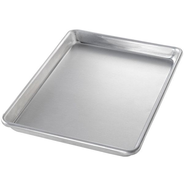 Chicago Metallic 40450 Quarter Size 16 Gauge Aluminum Sheet Pan - Curled Rim, No Wire, 9 1/2 inch x 13 inch