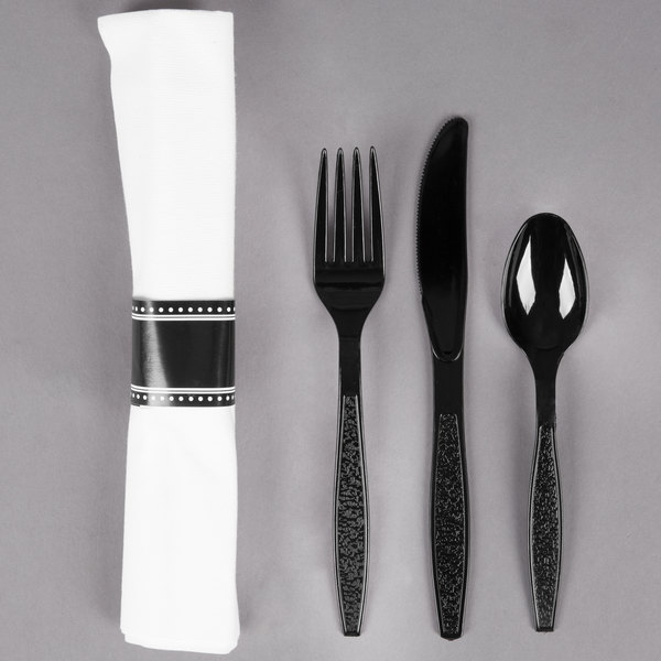 Visions 17 inch x 17 inch White Pre-Rolled Linen-Feel Napkin and Black Heavy Weight Plastic Cutlery Set - 100/Case