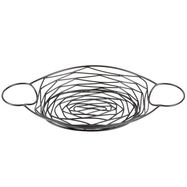 Tablecraft BK171372 Artisan Oval Black Metal Basket with Ramekin Holders - 13 inch x 7 inch x 2 inch
