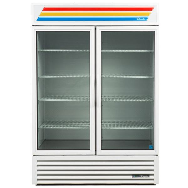 True GDM-49-HC~TSL01 White Glass Door Refrigerated Merchandiser with LED Lighting