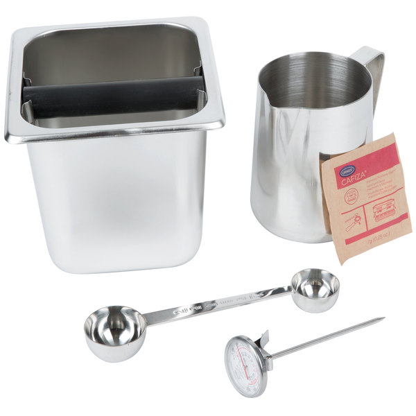Barista Kit with 6 inch Knock Box and (100) 0.25 oz. Urnex Cafiza Powder Packets