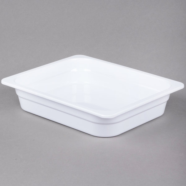 1/2 Size 2 1/2 inch Deep White Anti-Jam Melamine Food Pan
