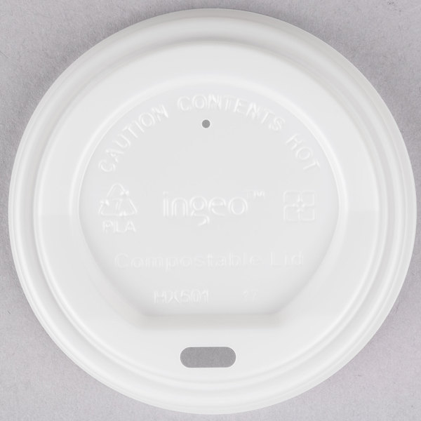 EcoChoice 8 oz. White Compostable and Biodegradable Paper Hot Cup Lid  - 1000/Case