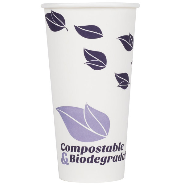 EcoChoice 20 oz. White Compostable and Biodegradable Paper Hot Cup with Leaf Design - 50/Pack