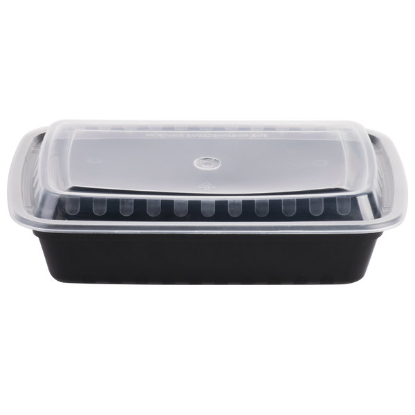 Choice 28 oz. Black 8 3/4 inch x 6 1/4 inch x 1 3/4 inch Rectangular Microwavable Heavyweight Container with Lid - 150/Case