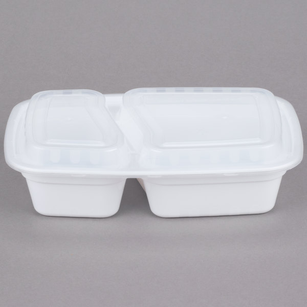 Choice 24 oz. White 9 inch x 6 1/4 inch x 2 3/4 inch 2-Compartment Rectangular Microwavable Container with Lid - 150/Case