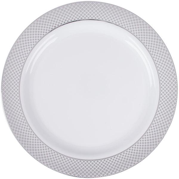 Silver Visions 10 inch White Plastic Plate with Silver Lattice Design - 120/Case
