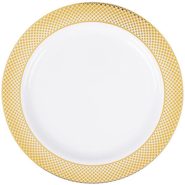 Silver Visions 10 inch White Plastic Plate with Gold Lattice Design - 120/Case