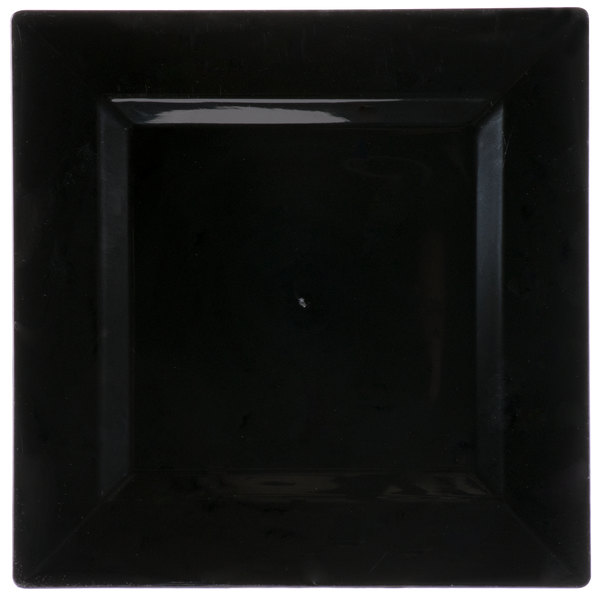 Visions Florence 10 inch Square Black Plastic Plate  - 10/Pack