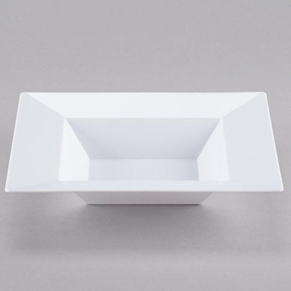 Visions Florence 12 oz. White Square Plastic Bowl - 10/Pack