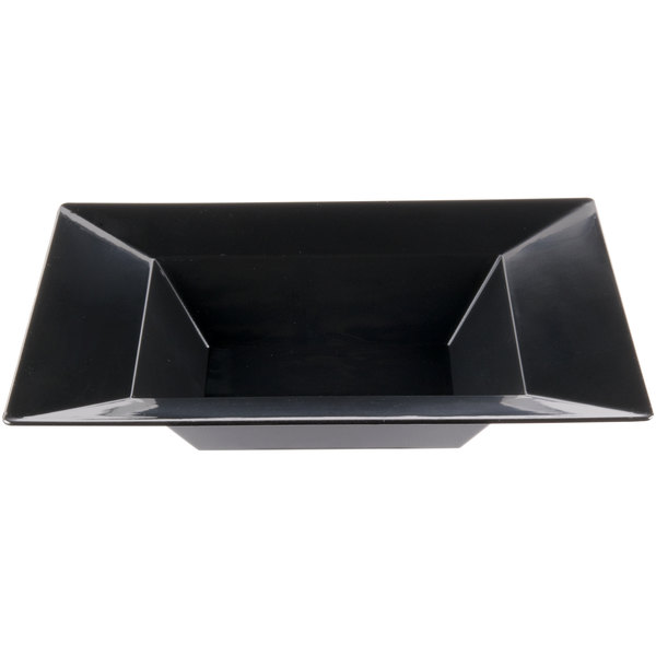 Visions Florence 12 oz. Black Square Plastic Bowl - 120/Case