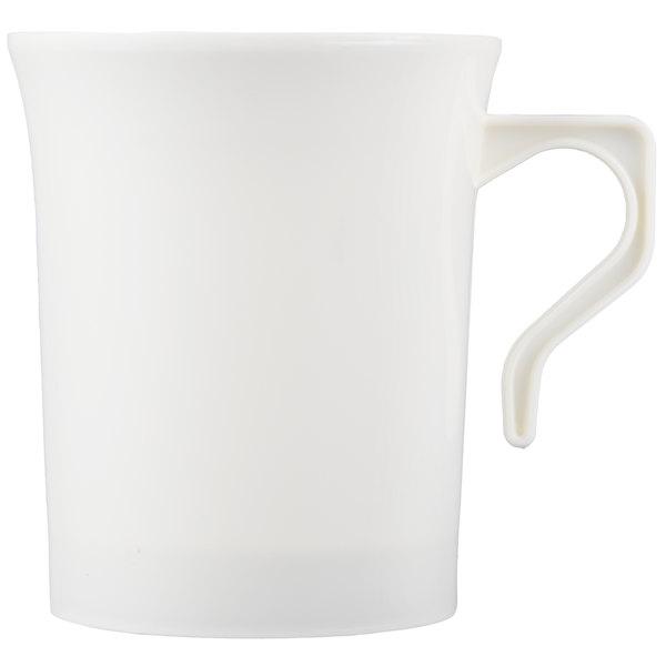Visions 8 oz. Bone / Ivory Plastic Coffee Mug - 8/Pack