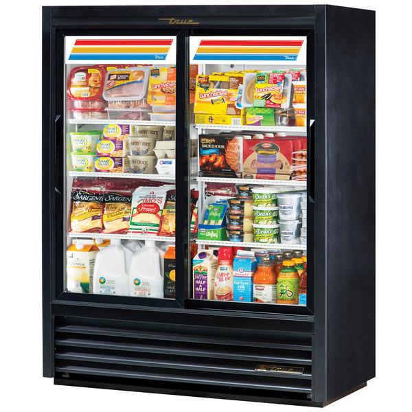 True GDM-41SL-60-LD 47 inch Black Convenience Store Sliding Glass Door Merchandiser - 19 Cu. Ft.