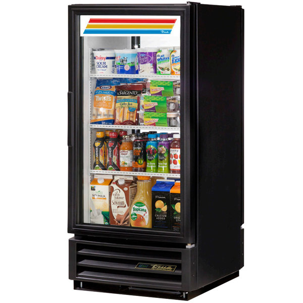 True GDM-10PT-LD Black Glass Door Pass-Through Refrigerated Merchandiser with LED Lighting - 10 cu. ft.