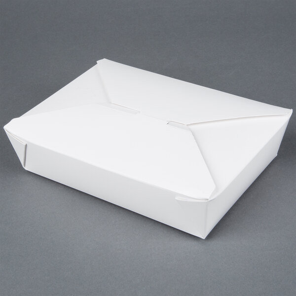 White GSD Bio-Pak 02BPWHITEM 8 inch x 6 inch x 2 inch Microwavable Paper #2 Take Out Container 200 / Case