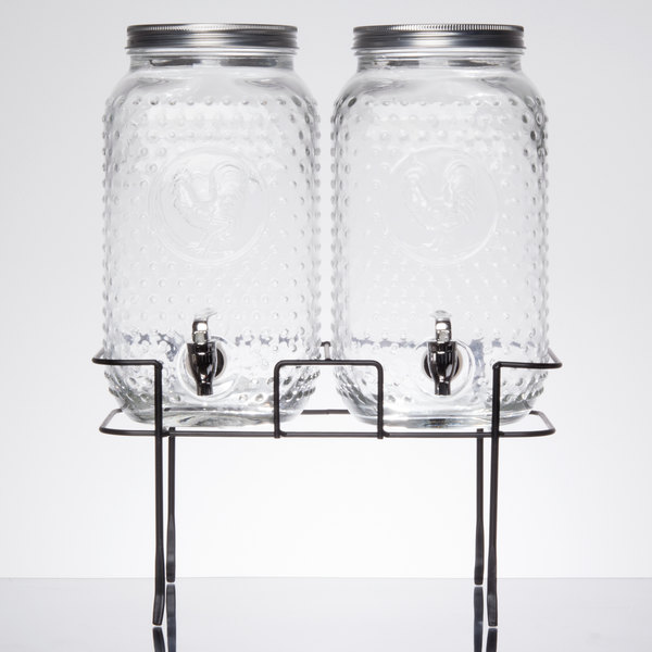 double 1 5 gallon style setter rooster glass beverage dispenser with metal stand. Black Bedroom Furniture Sets. Home Design Ideas