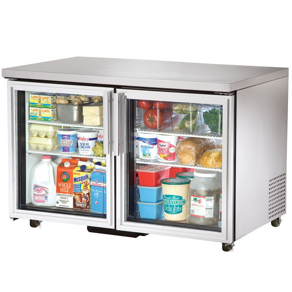 True TUC-48G-ADA-LD 48 inch ADA Height Undercounter Refrigerator with Glass Doors