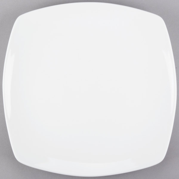 World Tableware 840-475S Porcelana Coupe 12 inch Square Bright White Porcelain Plate - 12/Case