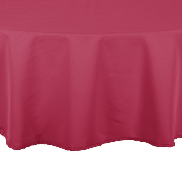 90 inch Round Mauve 100% Polyester Hemmed Cloth Table Cover