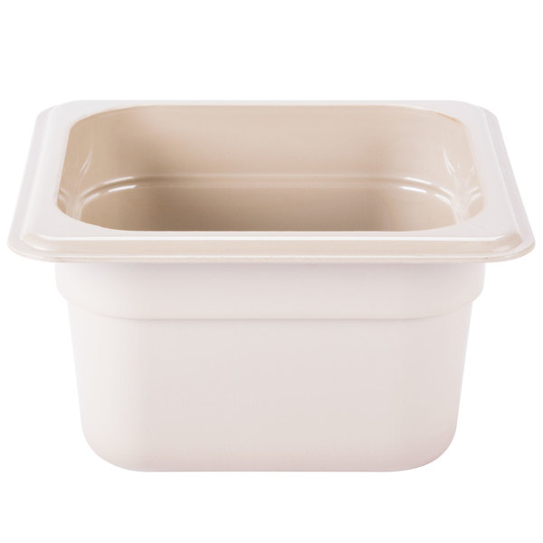 Cambro 64HP772 X-Pan 1/6 Size Sandstone High Heat Food Pan - 4 inch Deep
