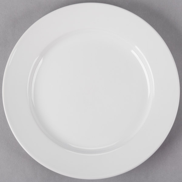 Core 9 inch Bright White Wide Rim Rolled Edge China Plate - 24/Case