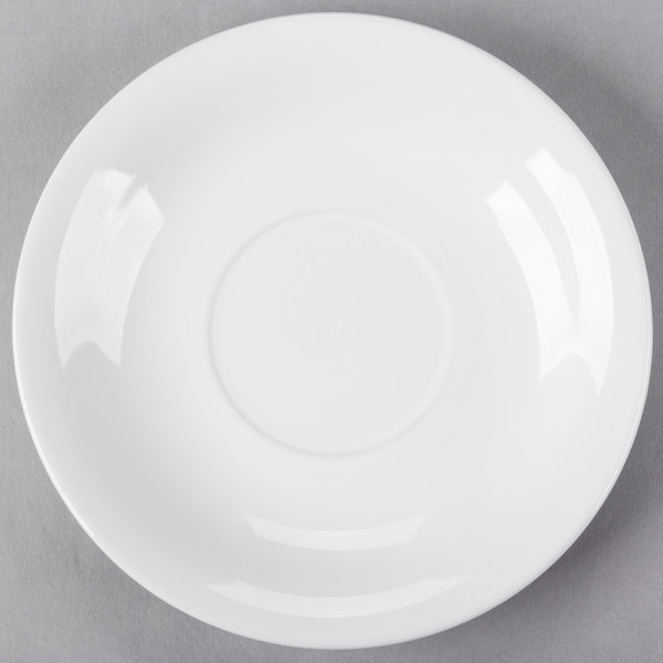 Core 6 inch Bright White Wide Rim Rolled Edge China Saucer - 36/Case