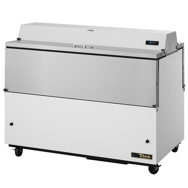 True TMC-58-DS-SS-HC 58 inch Two Sided Milk Cooler with White / Stainless Steel Exterior and Stainless Steel Interior