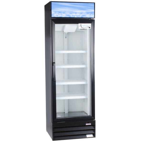 Avantco GDC15-HC 25 5/8 inch Black Swing Glass Door Merchandiser Refrigerator with LED Lighting