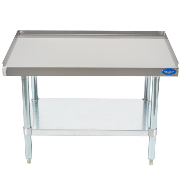 Vollrath 40741 36 inch x 24 inch Medium Duty Stainless Steel Equipment Stand with Galvanized Undershelf