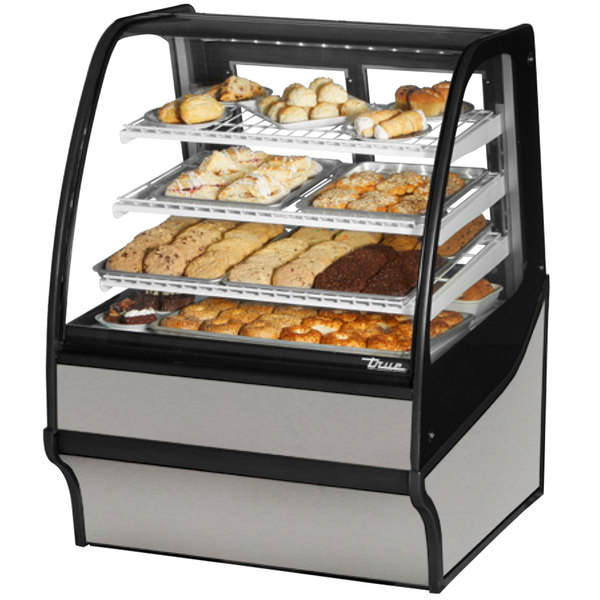 True TDM-DC-36-GE/GE 36 inch Stainless Steel Curved Glass Dry Bakery Display Case with Stainless Steel Interior