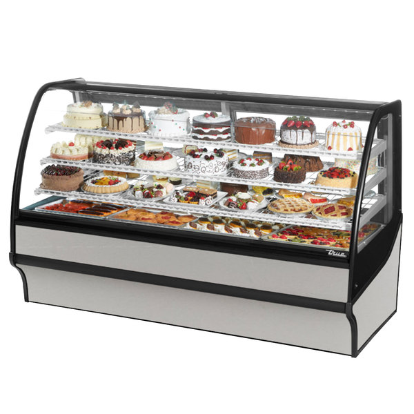 True TDM-R-77-GE/GE 77 inch Stainless Steel Curved Glass Refrigerated Bakery Display Case with Stainless Steel Interior