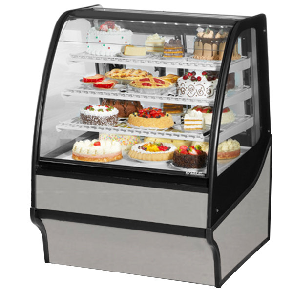 True TDM-R-36-GE/GE 36 inch Stainless Steel Curved Glass Refrigerated Bakery Display Case with Stainless Steel Interior