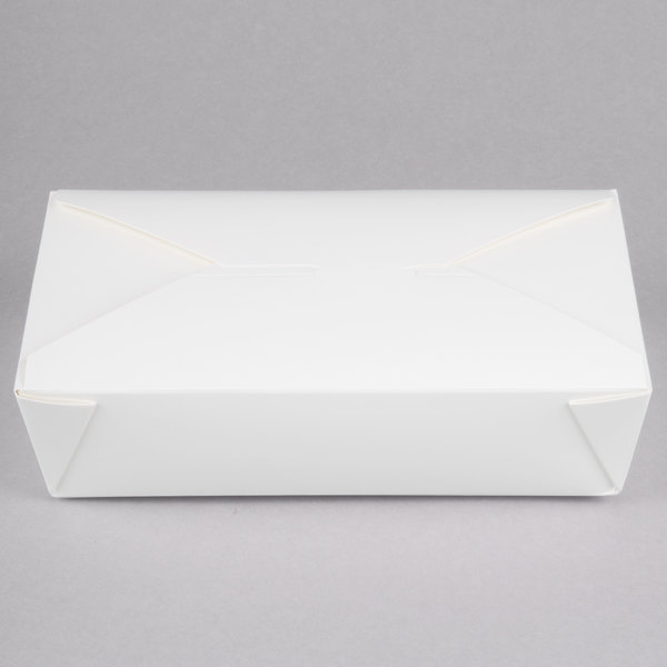 Choice 8 1/4 inch x 6 1/8 inch x 1 7/8 inch White Microwavable Folded Paper #2 Take-Out Container - 200/Case