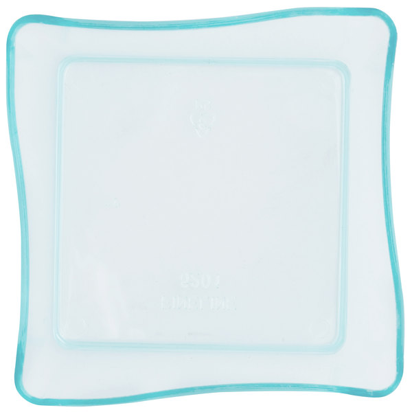 Fineline Tiny Temptations 6201-GRN 2 1/4 inch x 2 1/4 inch Tiny Trays Disposable Green Plastic Tray - 200/Case