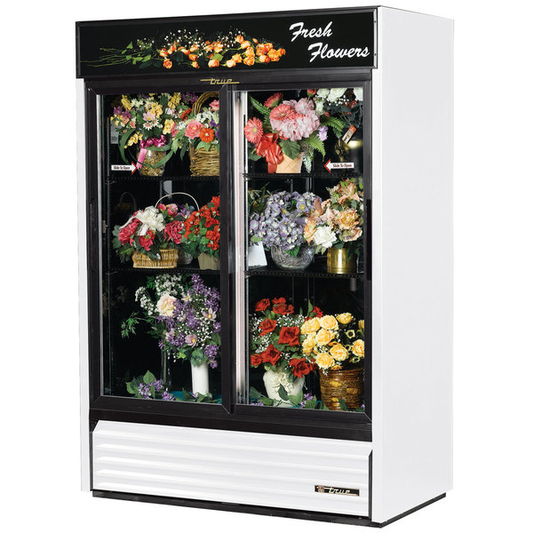 True GDM-47FC-HC-LD 54 inch White Glass Sliding Door Refrigerated Floral Case