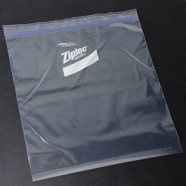 Diversey Ziploc 13 inch x 15 5/8 inch Two Gallon Freezer Bag with Double Zipper and Write-On Label - 100/Case