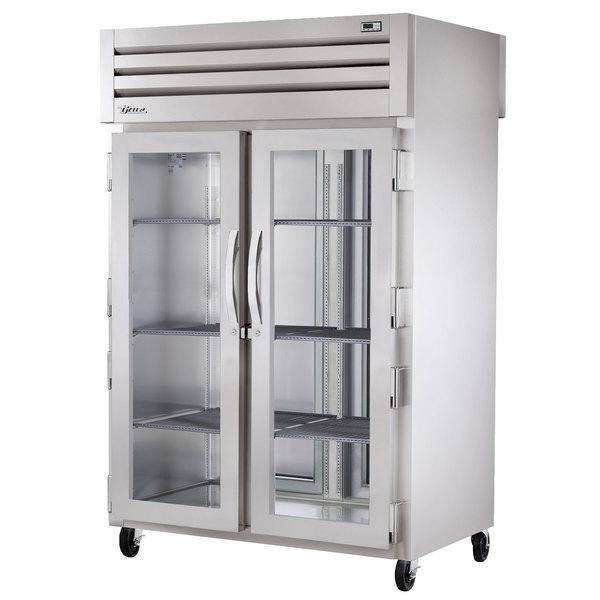 True STA2RPT-2G-2S-HC Specification Series 52 5/8 inch Glass Front, Solid Back Door Pass-Through Refrigerator