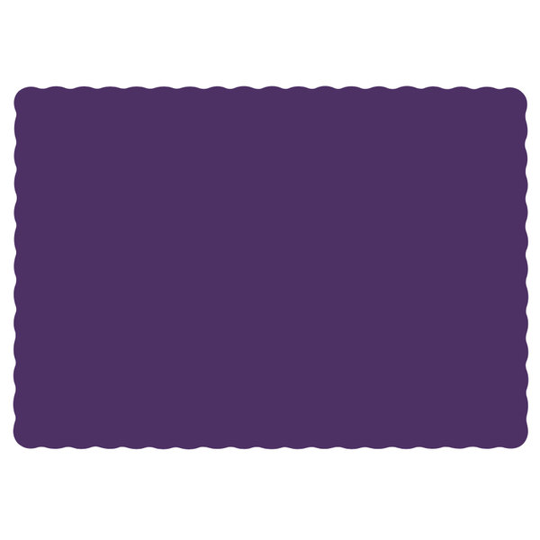 Hoffmaster 310557 10 inch x 14 inch Purple Colored Paper Placemat with Scalloped Edge - 1000/Case