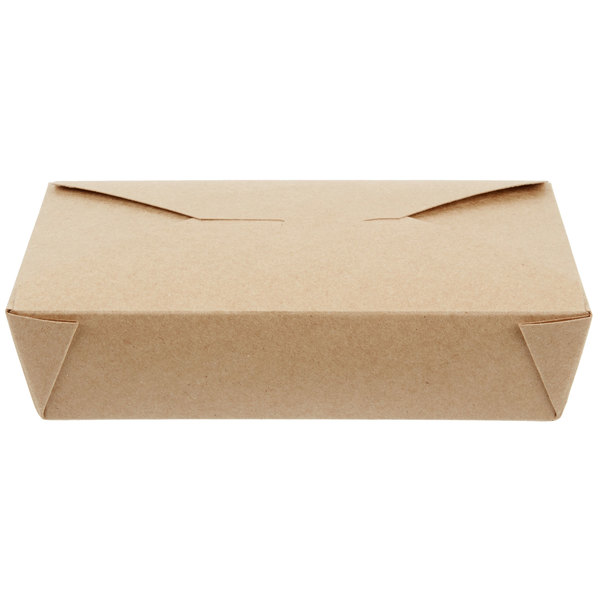 Choice 8 1/4 inch x 6 1/8 inch x 1 7/8 inch Kraft Microwavable Folded Paper #2 Take-Out Container - 50/Pack